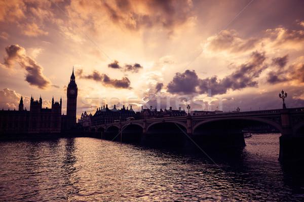 ビッグベン クロック 塔 ロンドン テムズ川 川 ストックフォト © lunamarina