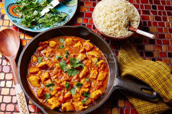 Caril de frango indiano receita basmati arroz cozinha Foto stock © lunamarina