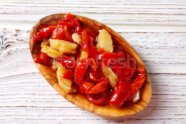 red pepper and cod fish esgarraet tapas Stock photo © lunamarina