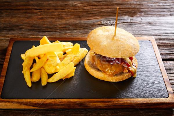 картофель фри картофельные чипсы ресторан таблице мяса Сток-фото © lunamarina
