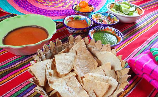 Mexican sauces pico de gallo habanero chili sauce Stock photo © lunamarina