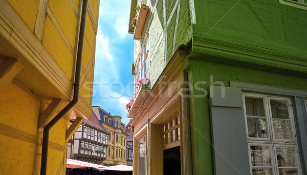 Quedlinburg city facades in Harz Germany Stock photo © lunamarina