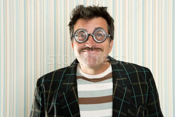 Nerd bobo louco óculos homem engraçado Foto stock © lunamarina