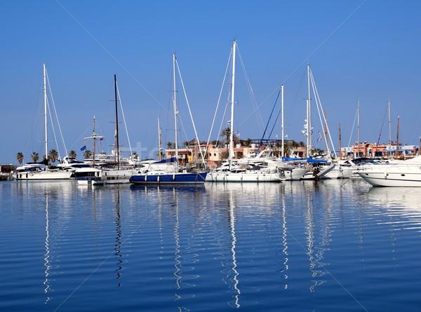 Boats in blue marina Mediterranean sea Denia Stock photo © lunamarina