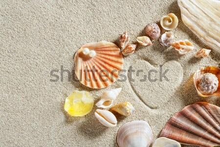 Stock fotó: Tengerpart · fehér · homok · szív · alak · nyomtatott · nyári · vakáció · nyomtatott