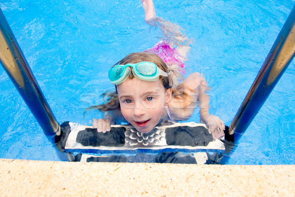 blond little girl in swimming pool with goggles Stock photo © lunamarina