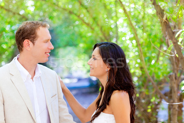 bride just married couple in love at outdoor Stock photo © lunamarina