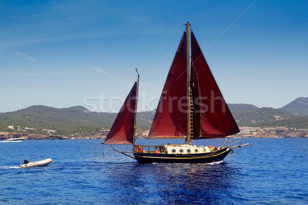 Ibiza Red sails sailboat in Sa Talaia coast Stock photo © lunamarina