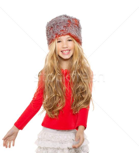 Gyerek lány tél tánc piros póló Stock fotó © lunamarina