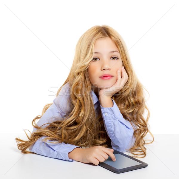 Photo stock: Blond · étudiant · Kid · livre · électronique · portrait