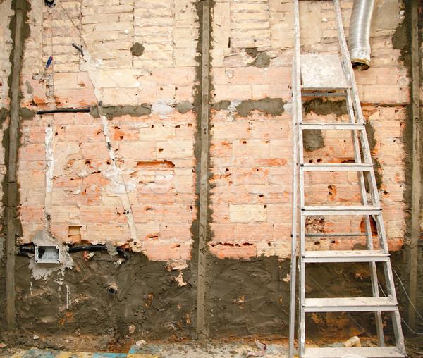 Stockfoto: Sloop · keuken · interieur · bouw · ladder · huis
