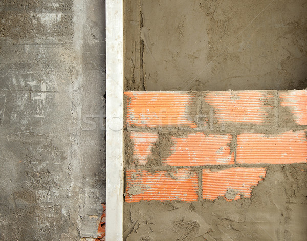 brickwall construction and mortar cement plaster Stock photo © lunamarina
