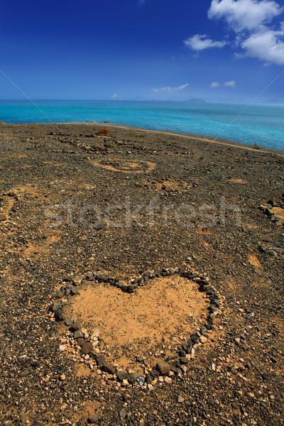 Lanzarote Papagayo and stones heart Stock photo © lunamarina