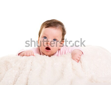 baby girl open mouth funny gesture in pink Stock photo © lunamarina