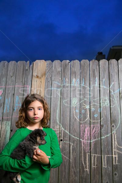 children girl holding puppy dog on backyard wood fence  Stock photo © lunamarina