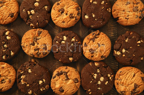 Chocolade cookie biscuits grid arrangement Stockfoto © lunamarina
