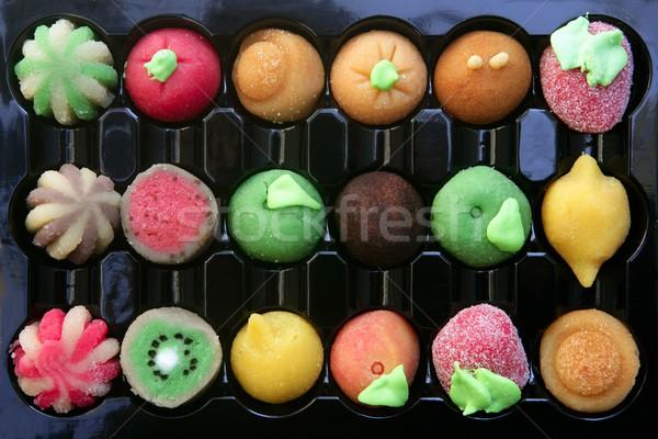 Colorful marzipan sweets with fruits shapes Stock photo © lunamarina