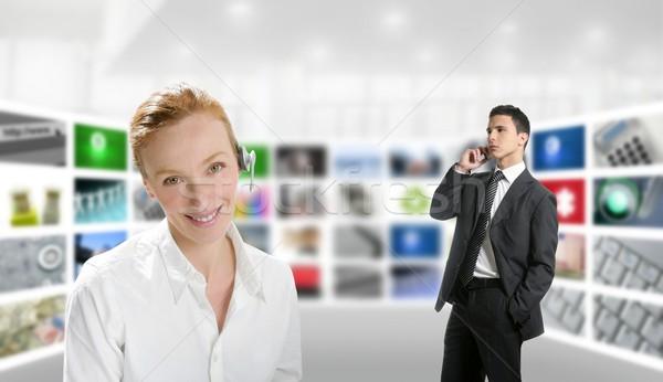 Foto stock: Moderna · oficina · mujer · empresario · tv · Screen