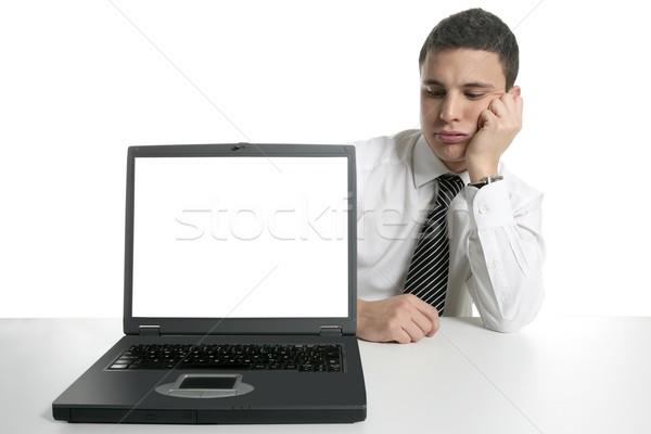 Stock fotó: üzletember · laptop · számítógép · rossz · hírek · laptop · copy · space · képernyő