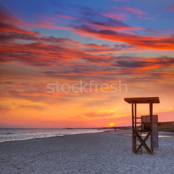 Menorca sunset in Son Bou beach of Alaior at Balearics Stock photo © lunamarina
