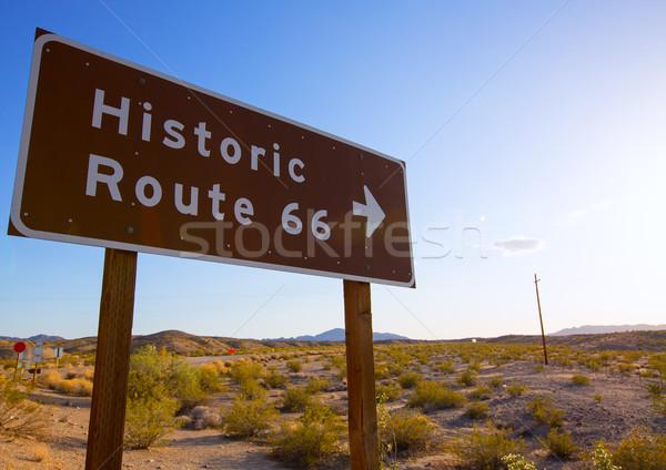 Historisch route 66 weg zingen woestijn Californië Stockfoto © lunamarina