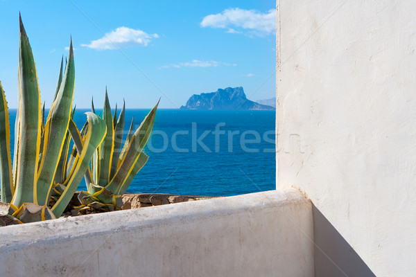 Moraira Alicante view mediterranean white house and agave Stock photo © lunamarina