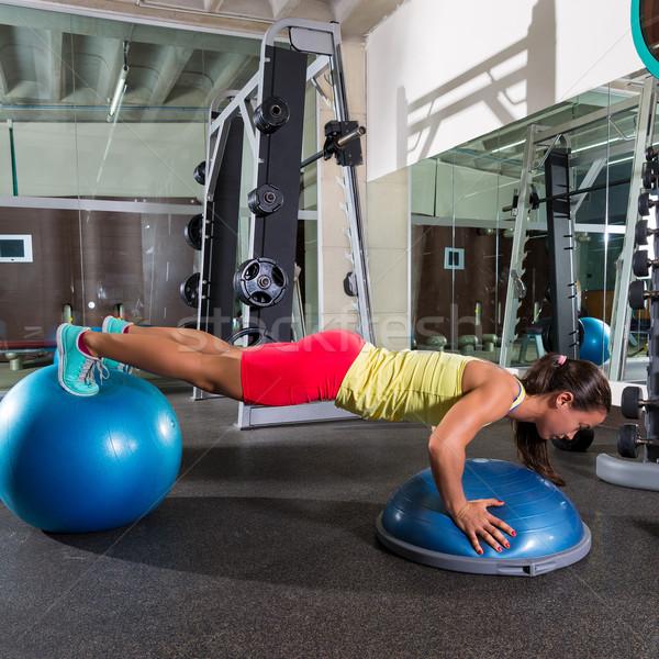 Stock photo: swiss ball bosu push up woman blue fitball