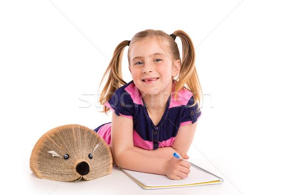 Szőke gyerek lány diák sündisznó könyv Stock fotó © lunamarina
