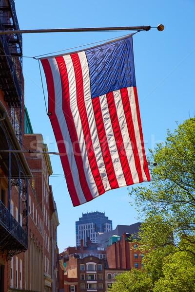 американский флаг Бостон центра Массачусетс США небе Сток-фото © lunamarina