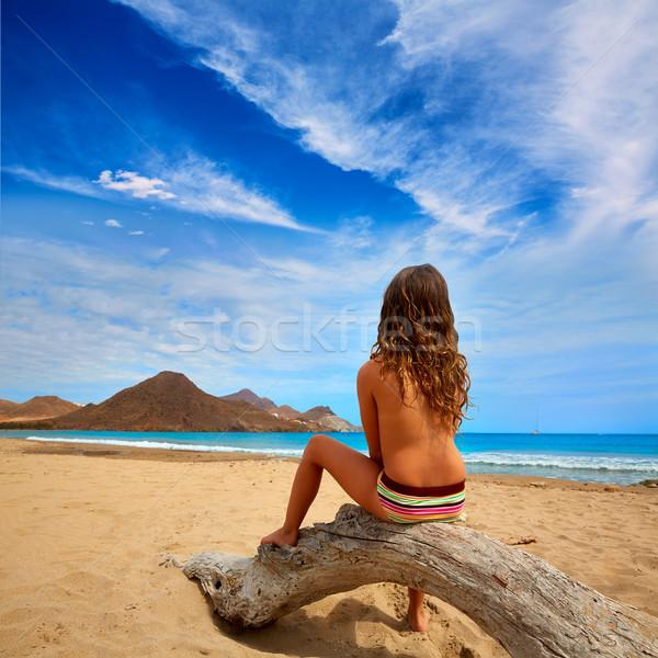 Almeria Playa de los Genoveses beach girl back Stock photo © lunamarina