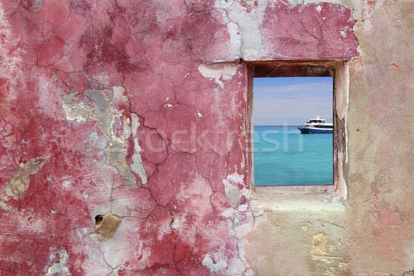 grunge pink red wall window turquoise sea Stock photo © lunamarina