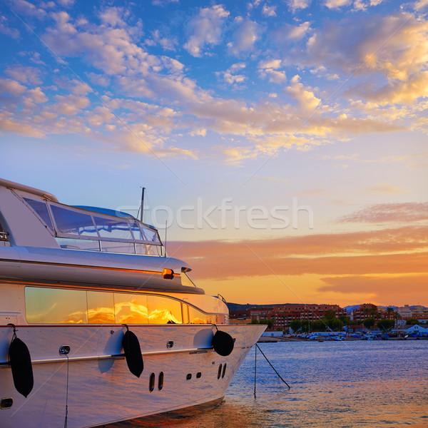 Denia sunset in Marina boats Mediterranean Spain Stock photo © lunamarina