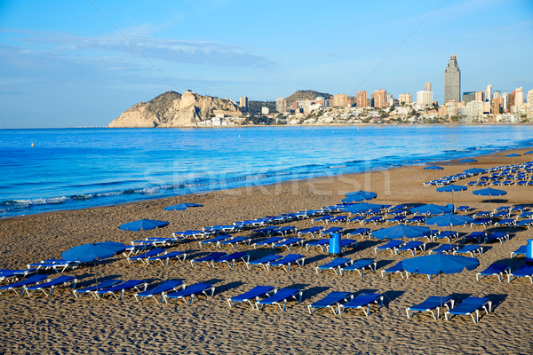 Stok fotoğraf: Plaj · İspanya · akdeniz · su · şehir · gün · batımı