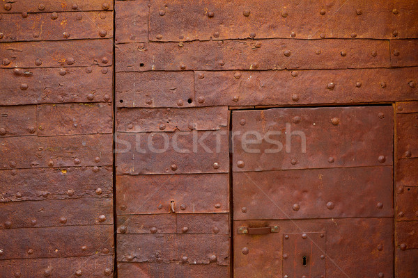 Zamora the castle rusty door detail in Spain Stock photo © lunamarina