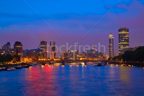 ロンドン 日没 テムズ川 川 ビッグベン イングランド ストックフォト © lunamarina