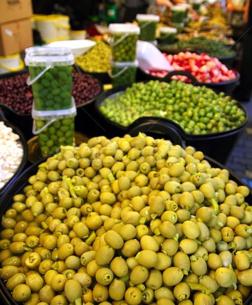 Oliwek ogórki konserwowe tekstury żywności rynku perspektywy Zdjęcia stock © lunamarina