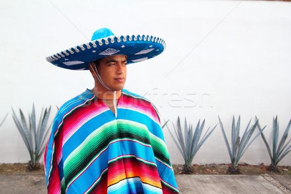 Jóképű mexikói férfi kalap agavé szombréró Stock fotó © lunamarina