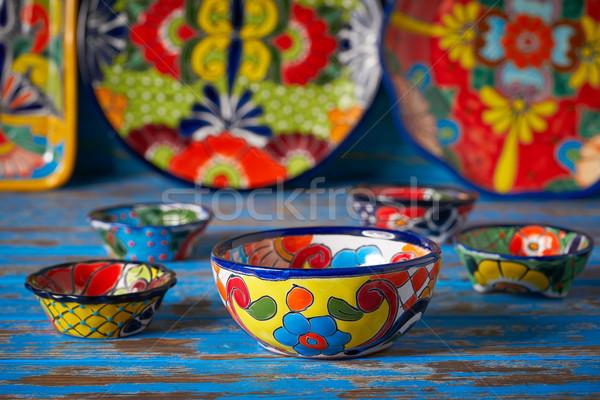 Mexikói cserépedények stílus Mexikó kéz festék Stock fotó © lunamarina