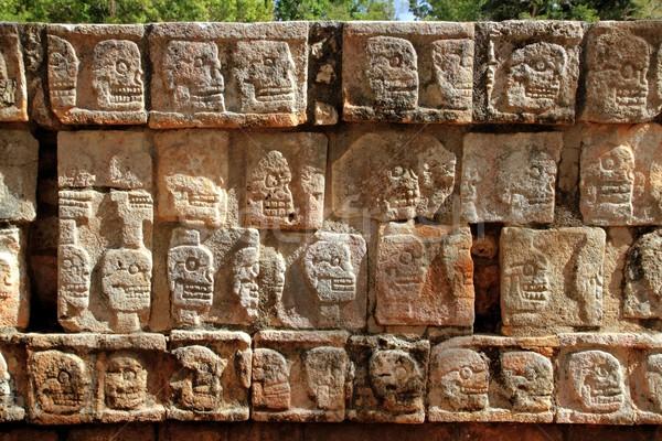 Chichen Itza Tzompantli Wall of Skulls Mayan Mexico Stock photo © lunamarina