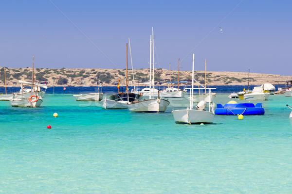 estany des peix in Formentera lake anchor boats Stock photo © lunamarina