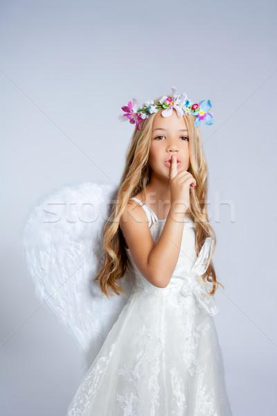 ストックフォト: 天使 · 子供 · 女の子 · 寝 · 指 · 口