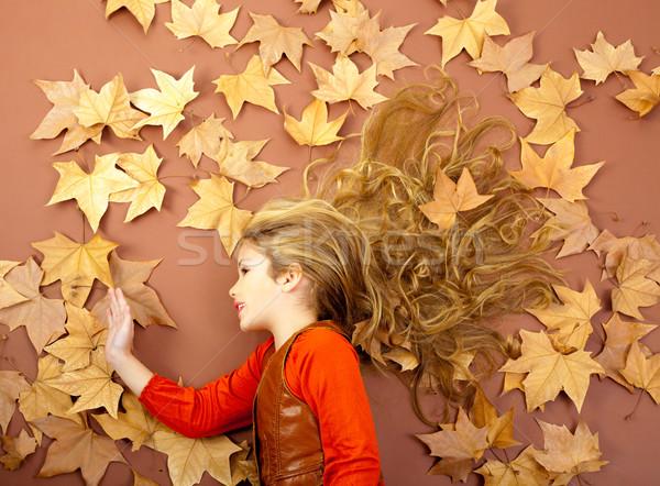 Photo stock: Automne · fille · séché · laisse · automne · peu