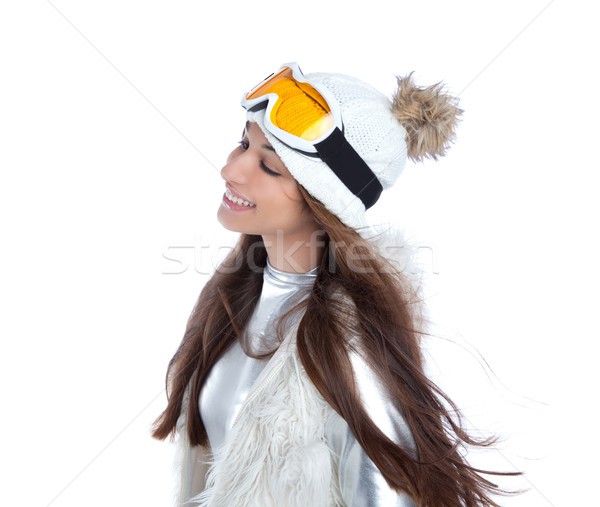 asian indian brunette winter girl with snow fur cap Stock photo © lunamarina