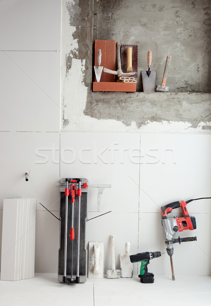 construction tools as tiles cutter electric hammer drill Stock photo © lunamarina