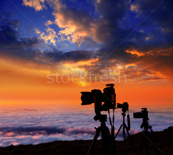 camera tripods photographer sunset sea of clouds Stock photo © lunamarina