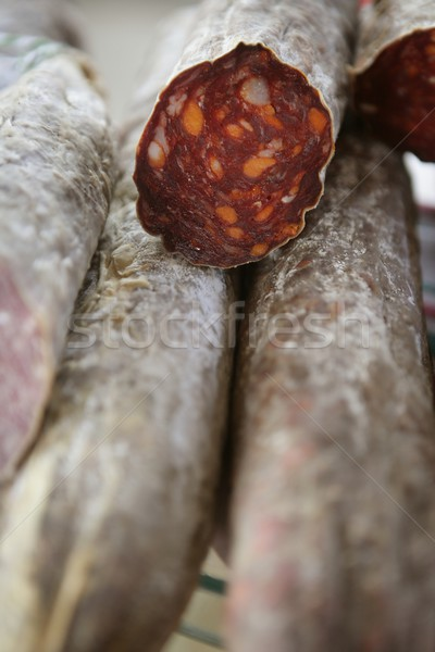Cured red pepperoni in the mediterranean market Stock photo © lunamarina