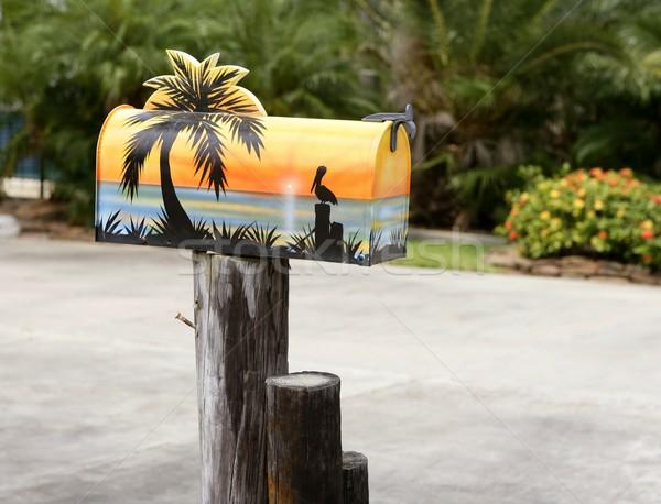 Eğlence artistik posta kutusu tropikal deniz boya Stok fotoğraf © lunamarina