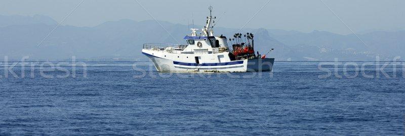 Akdeniz tekne çalışma kılıçbalığı gökyüzü Stok fotoğraf © lunamarina
