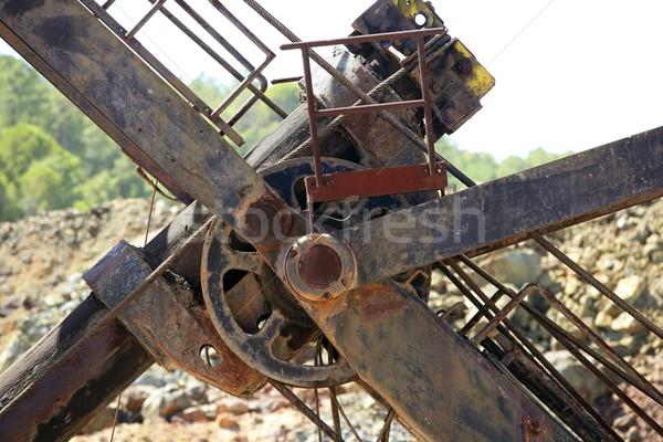 Excavator bulldozer arm wheel rusted detail Stock photo © lunamarina