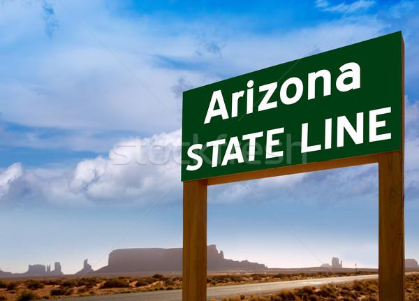 Road sign between Utah and Arizona State Line Stock photo © lunamarina